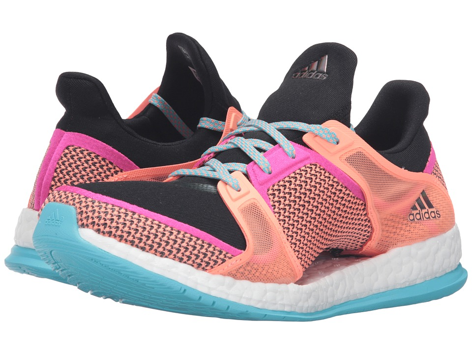 adidas - Pure Boost X Trainer (Black/Shock Pink/Sun Glow) Women's Cross Training Shoes