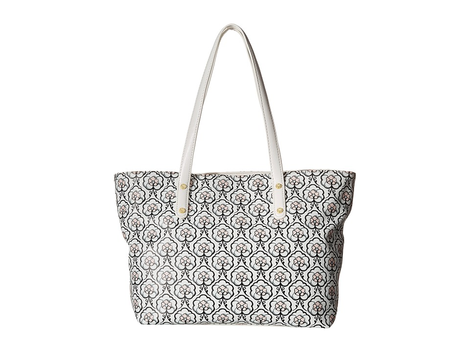 Emma Fox - Savannah East/West Tote (White/Black Multi) Tote Handbags