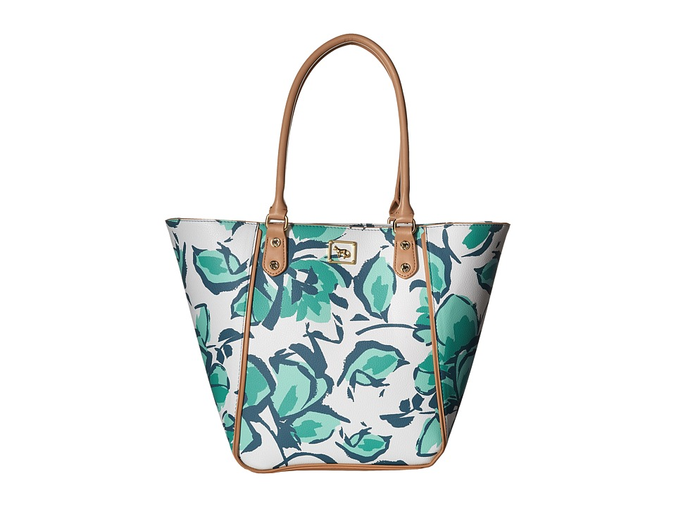 Emma Fox - Magnolia North/South Tote (Aqua Floral) Tote Handbags