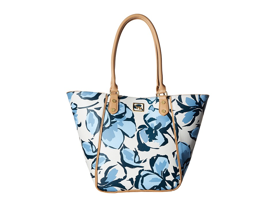 Emma Fox - Magnolia North/South Tote (Blue Floral) Tote Handbags