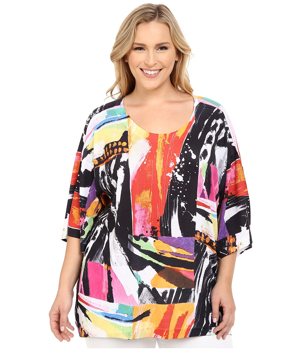Nally & Millie - Plus Size Printed Brush Stroke Boxy Top (Multicolor) Women's Clothing