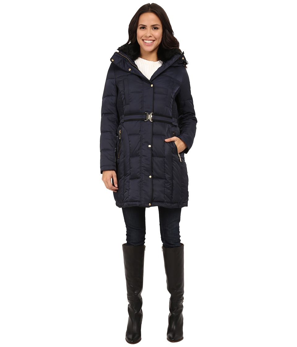 Vince Camuto Belted Down with Faux Fur Trim Collar J8601 (Navy) Women