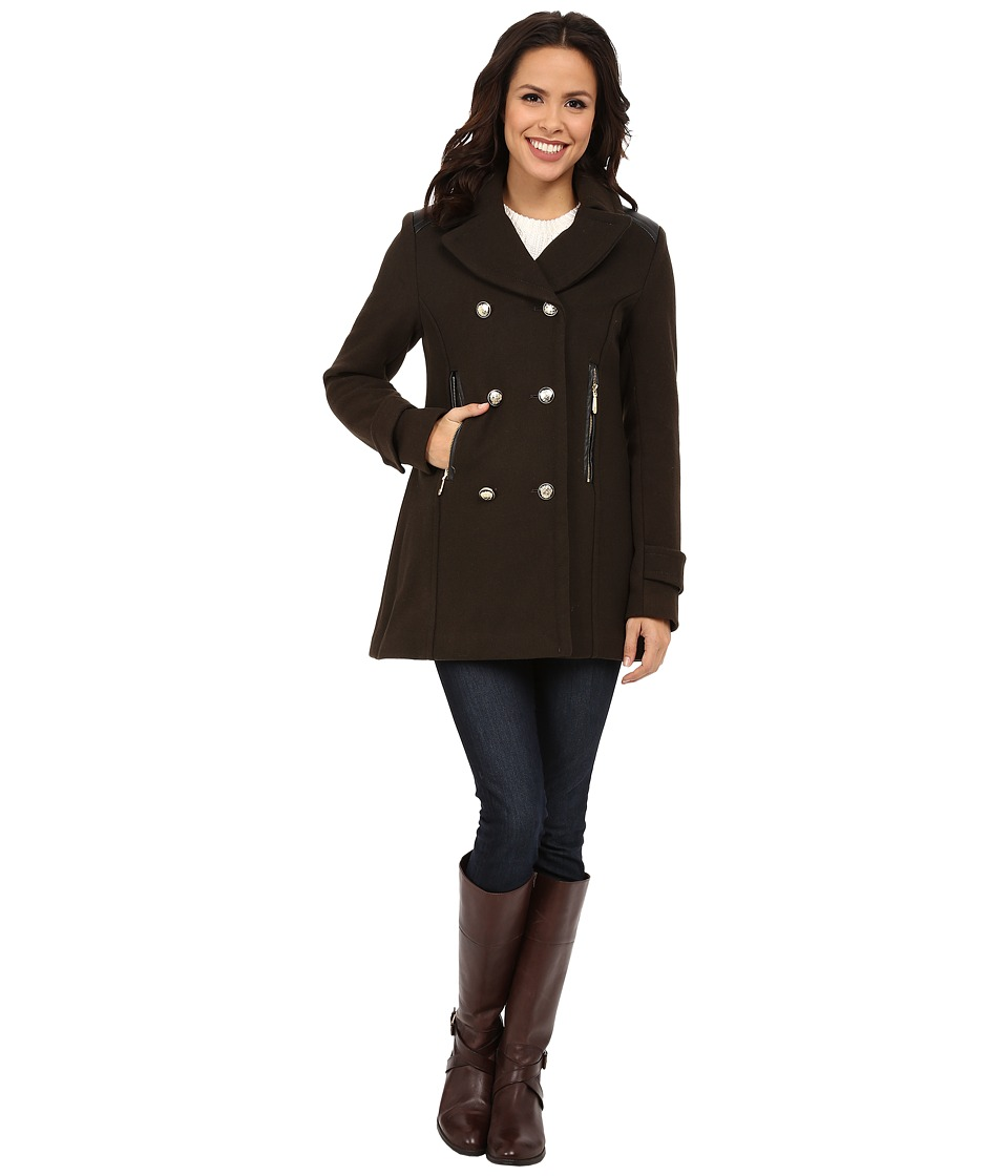 Vince Camuto - Double Breasted Military Wool J8001 (Olive) Women's Coat