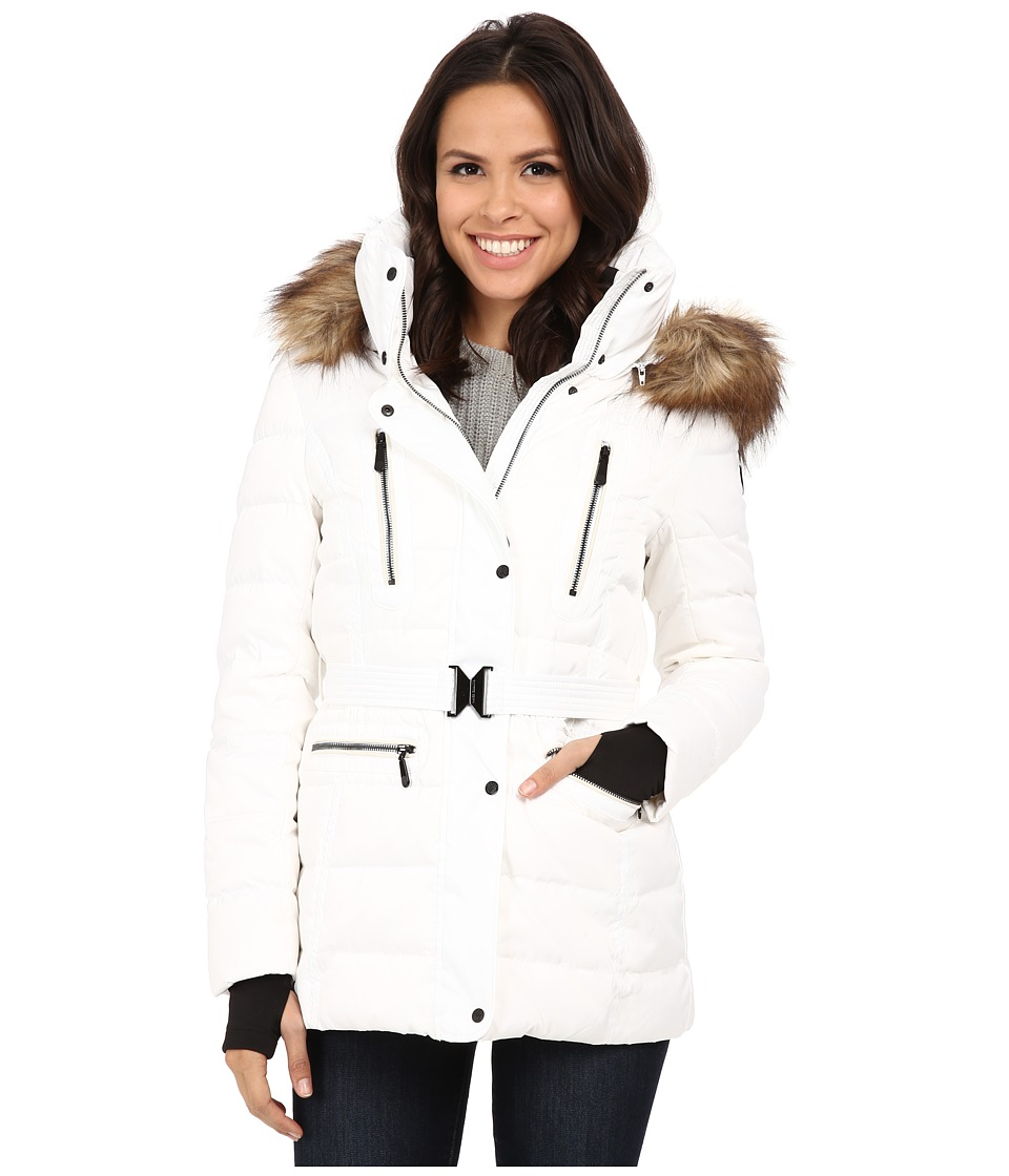 Vince Camuto - Belted Down with Faux Fur Trim J8581 (Dove) Women's Coat