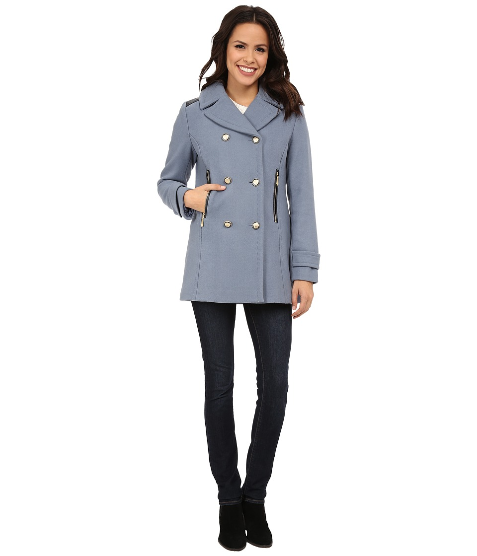 Vince Camuto - Double Breasted Military Wool J8001 (Dusty Blue) Women's Coat