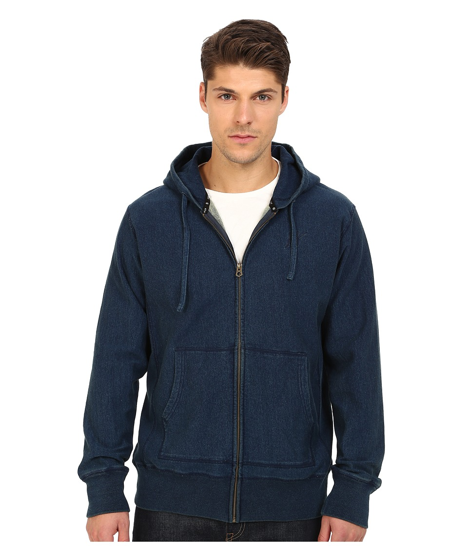 HUF - Indigo Zip-Up Hoodie (Indigo) Men's Sweatshirt