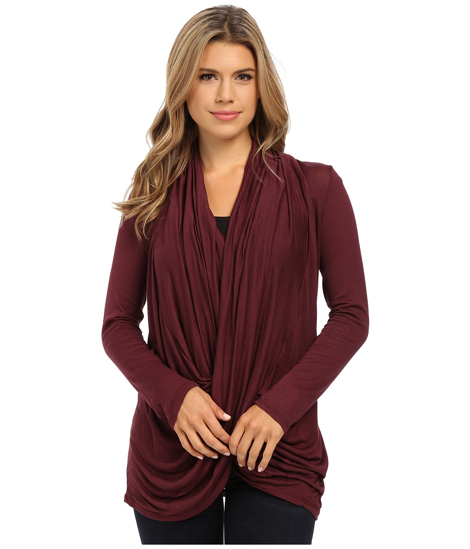Culture Phit - Cowl Neck Long Sleeve Top (Burgundy) Women's Clothing