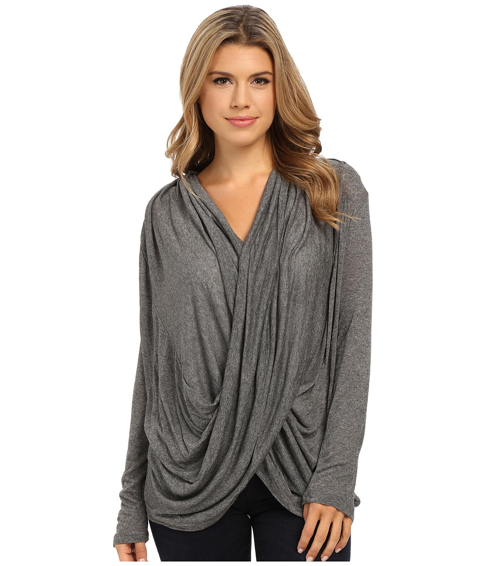 Culture Phit - Cowl Neck Long Sleeve Top (Charcoal) Women's Clothing