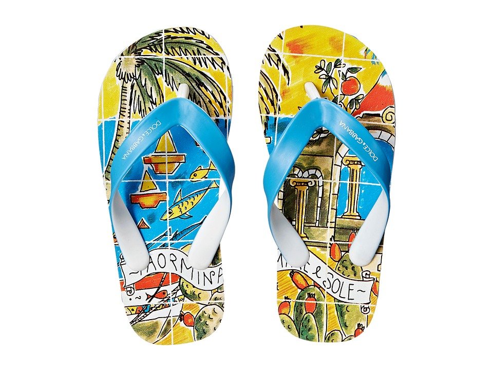Dolce & Gabbana Kids - Printed Beach Flip Flop (Little Kid/Big Kid) (Turquoise) Boys Shoes