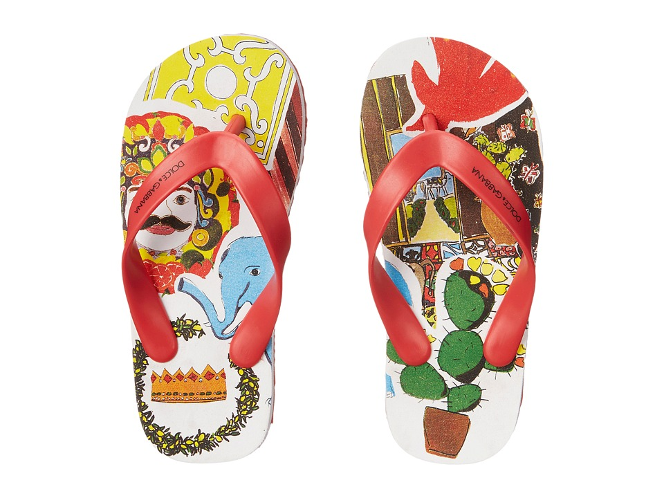 Dolce & Gabbana Kids - Animal Print Flip Flop (Little Kid/Big Kid) (Cactus) Boys Shoes