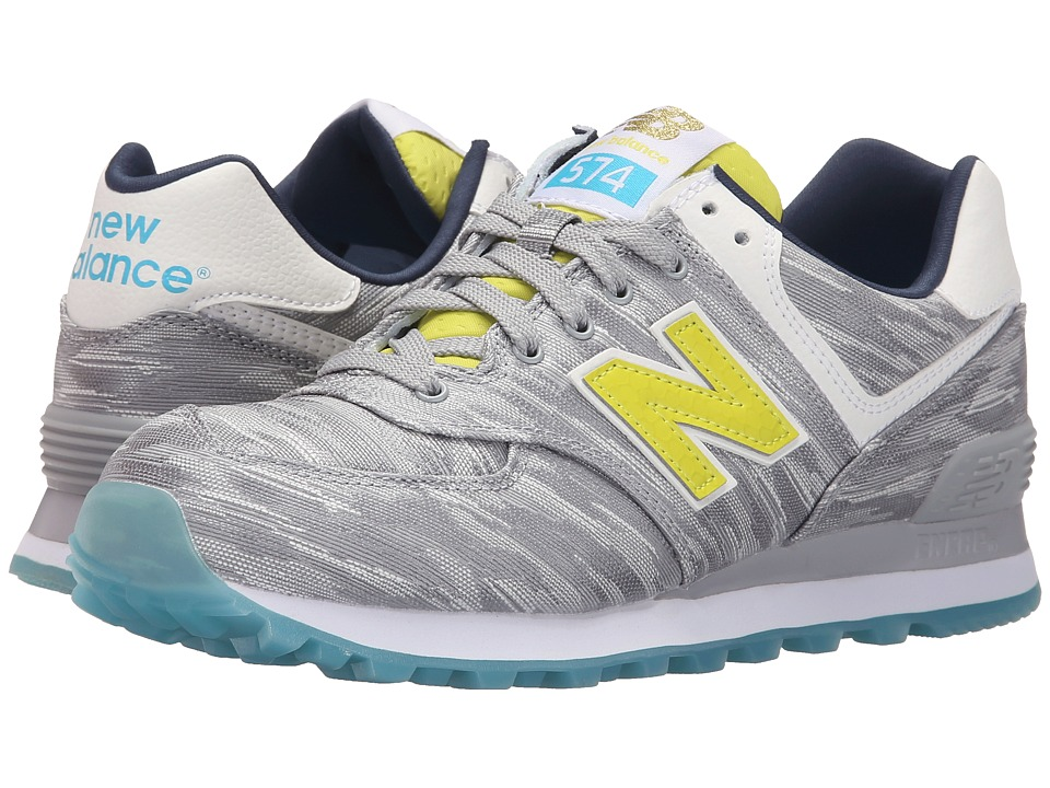New Balance Classics - WL574v1 (Silver Mink/Limeaid) Women's Running Shoes