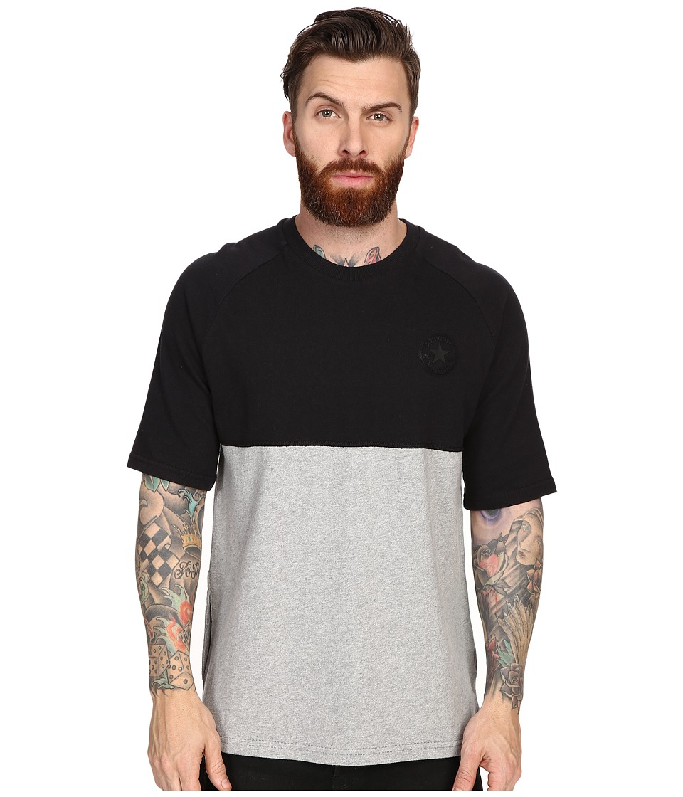 Converse - Short Sleeve Color Block Crew Shirt (Vintage/Grey Heather/Black) Men's Short Sleeve Pullover
