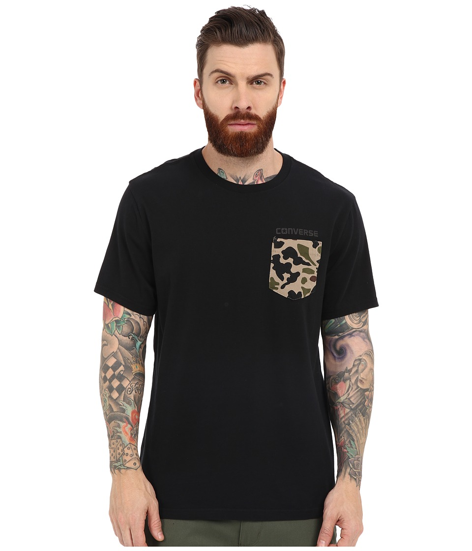 Converse - Short Sleeve Camo Pocket Tee (Black) Men's Short Sleeve Pullover