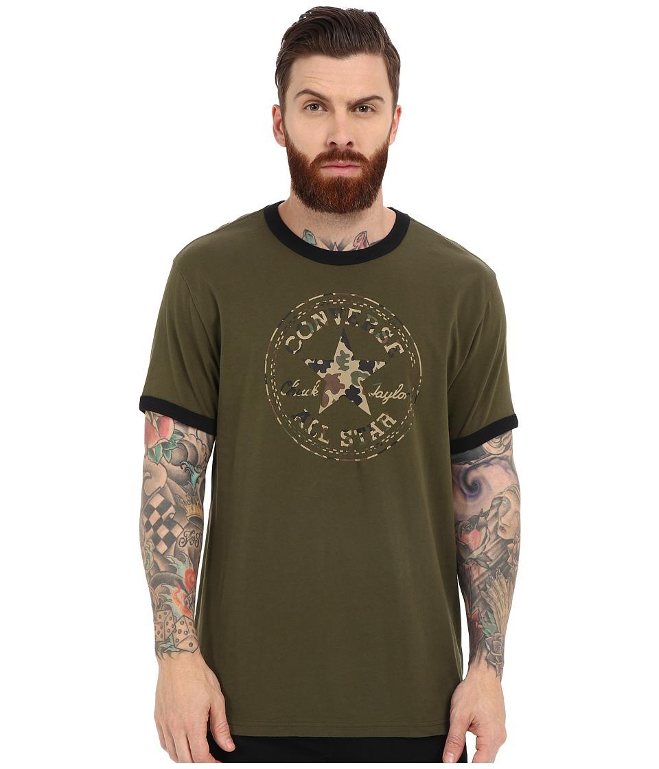 Converse - Camo Chuck Patch Ringer Tee (Herbal) Men's Short Sleeve Pullover