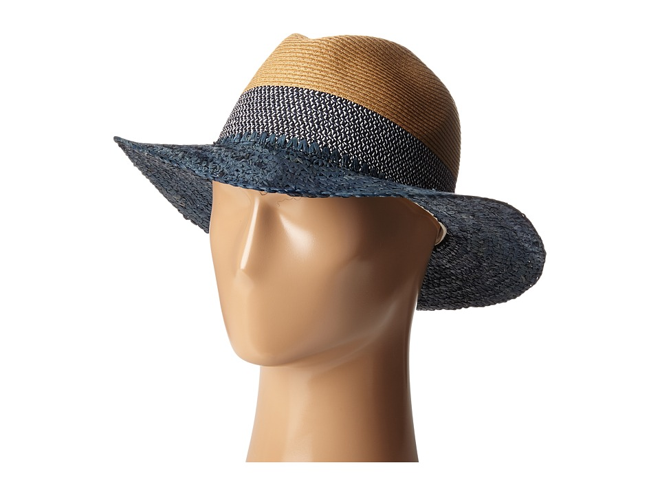 Echo Design - Colorblock Fedora Hat (Deep Blue Sea) Dress Hats