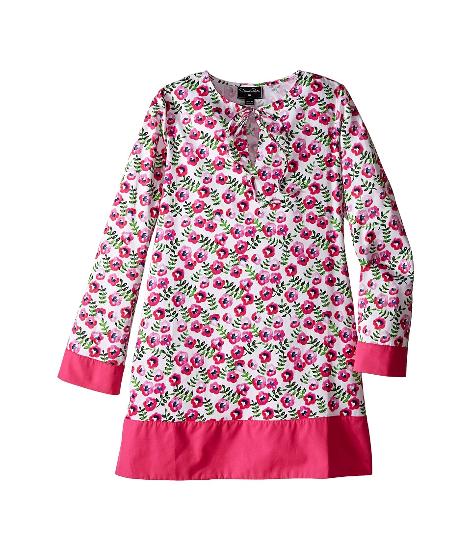 Oscar de la Renta Childrenswear - Spring Pansies Cotton Caftan (Toddler/Little Kids/Big Kids) (Shocking Pink) Girl's Swimwear