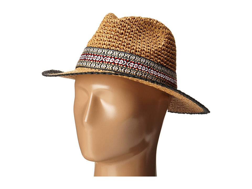 Echo Design - Crocheted Straw Hat (Black) Caps
