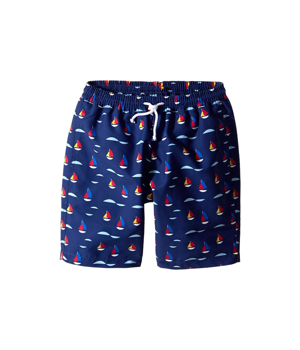 Oscar de la Renta Childrenswear - Sailboat Classic Swim Shorts (Toddler/Little Kids/Big Kids) (Navy) Boy's Swimwear