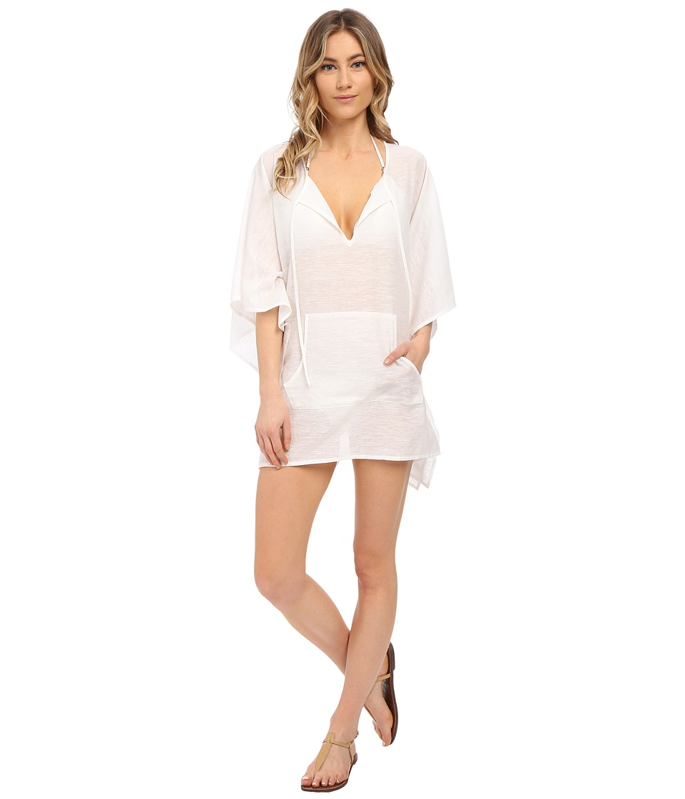Echo Design - Solid Kangaroo Poncho Cover-Up (White) Women's Swimwear
