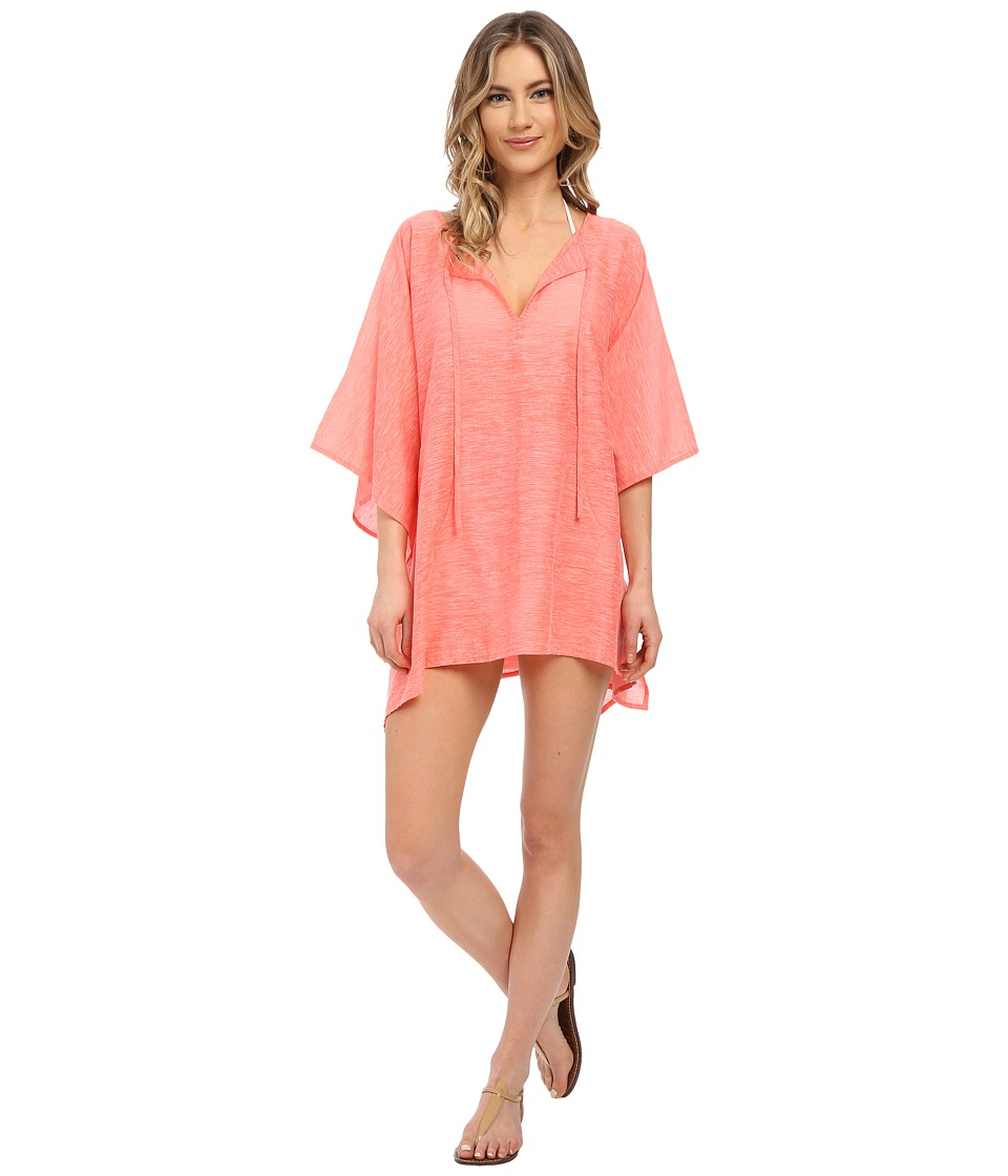 Echo Design - Solid Kangaroo Poncho Cover-Up (Bright Coral) Women's Swimwear