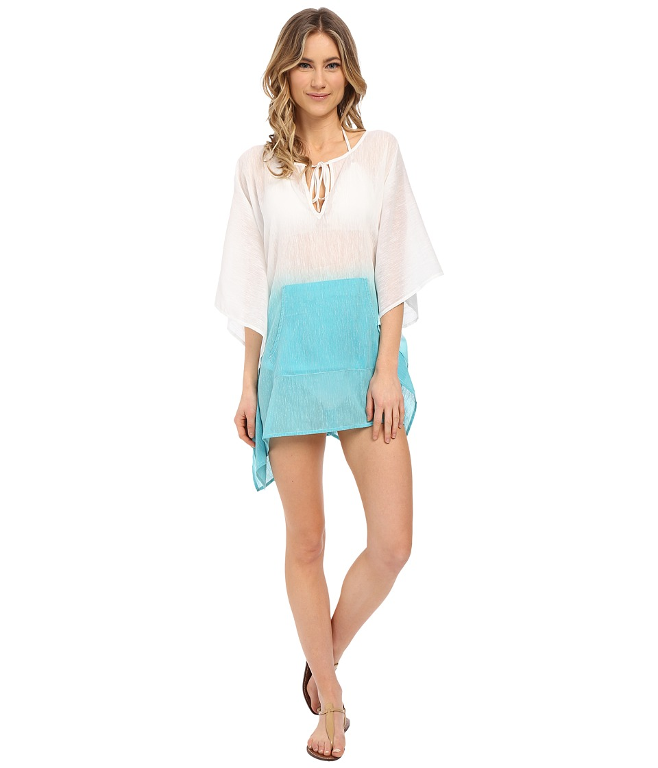 Echo Design - Ombre Kangaroo Poncho Cover-Up (Pacific Teal) Women's Swimwear
