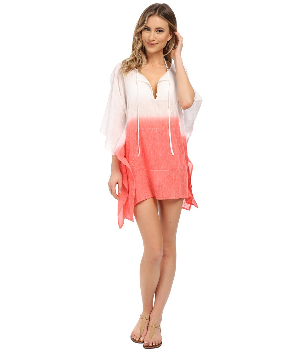 Echo Design - Ombre Kangaroo Poncho Cover-Up (Bright Coral) Women's Swimwear
