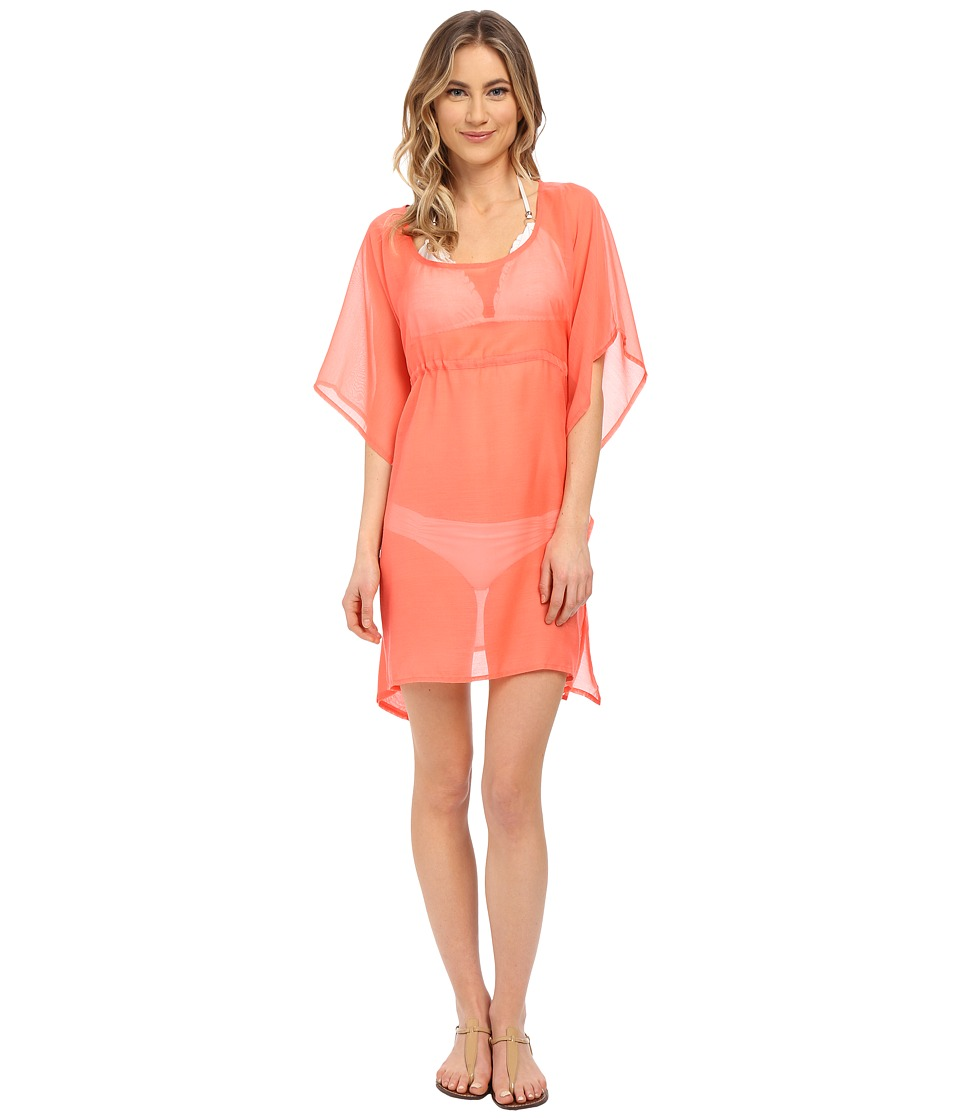 Echo Design - Solid Butterfly Cover-Up (Bright Coral) Women's Swimwear