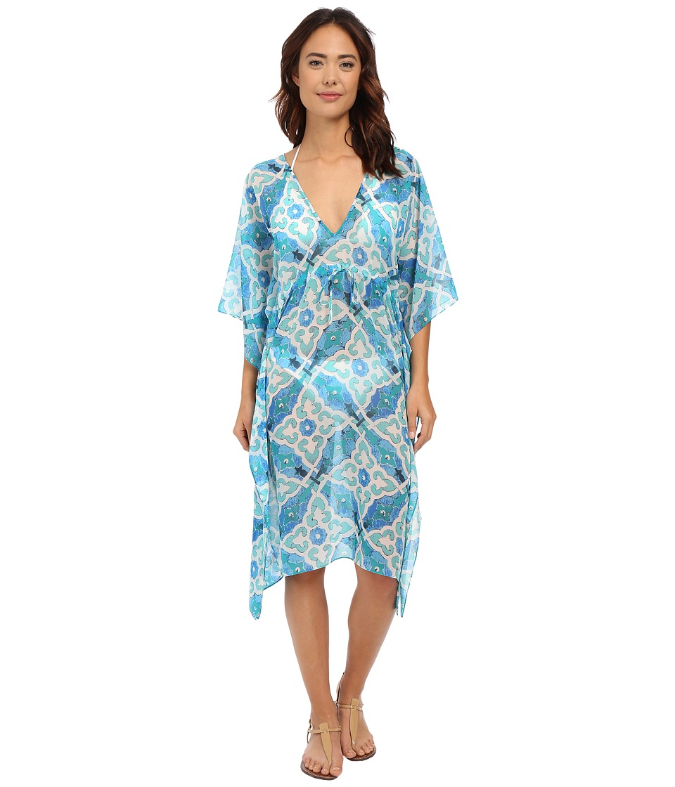Echo Design - Tahitian Tile Double V Buttefly Cover-Up (Caribbean Blue) Women's Swimwear