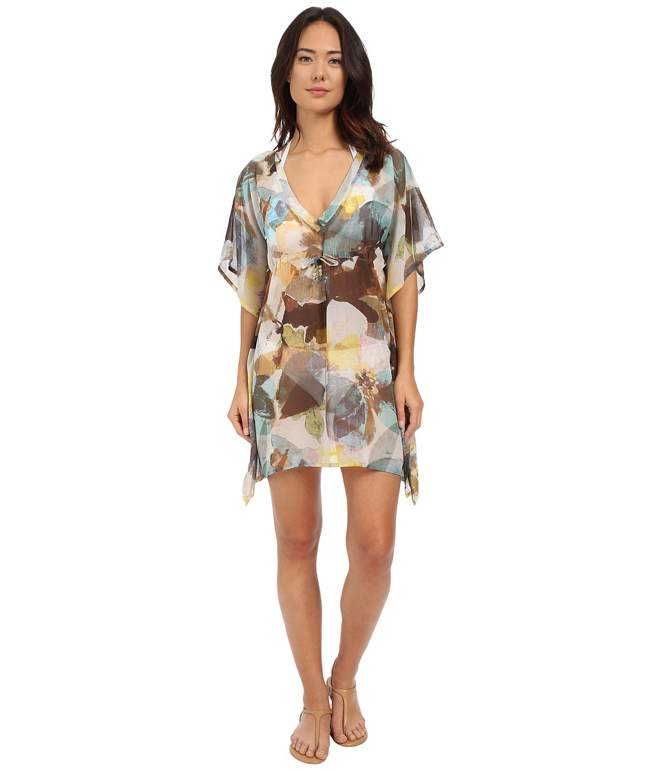 Echo Design - Amazon Floral Silky Buttefly Cover-Up (Black) Women's Swimwear
