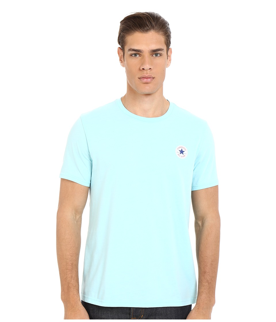 Converse - Core Left Chest Core Patch Short Sleeve Crew (Pool Blue) Men's T Shirt
