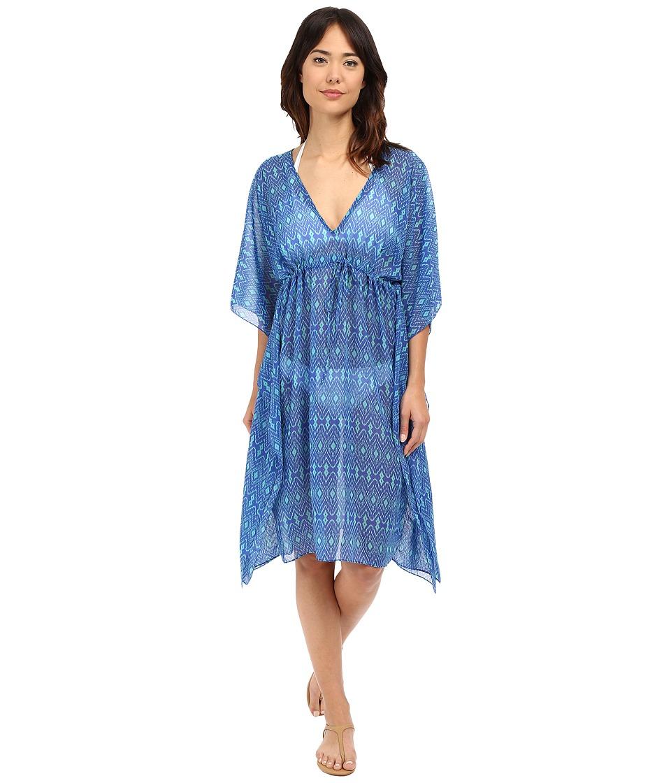 Echo Design - Ikat Double V Butterfly Cover-Up (Dazzling Blue) Women's Swimwear