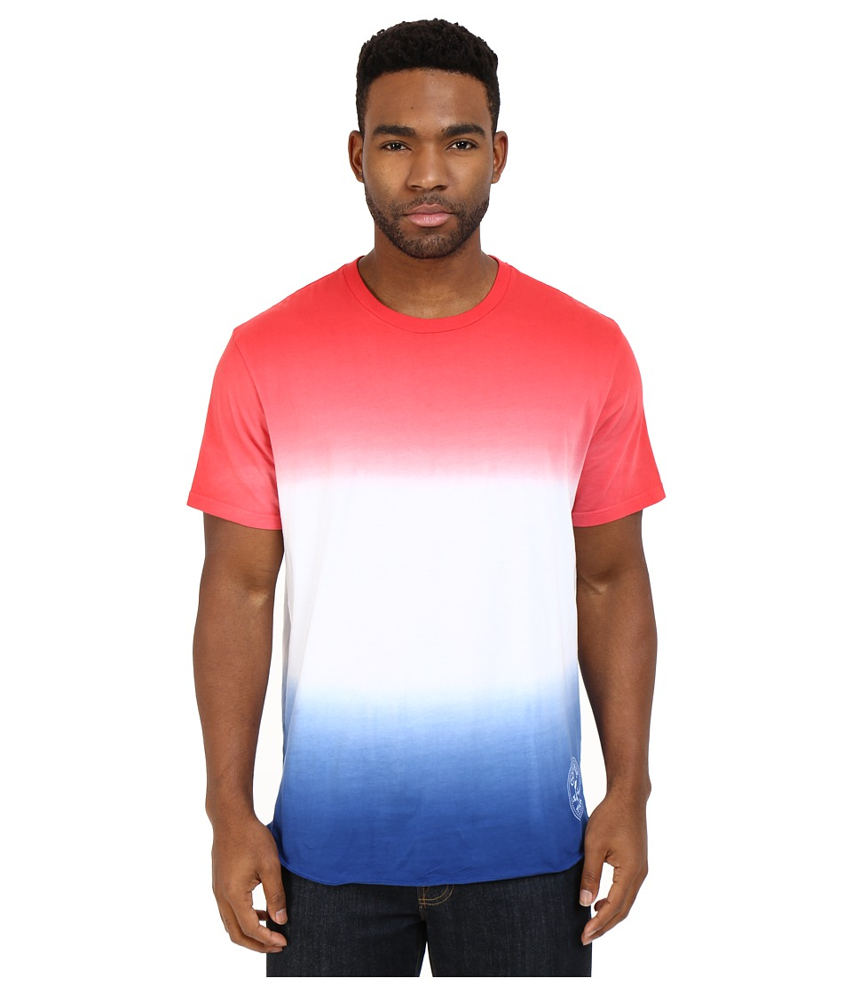 Converse - Tri-Color Gradient Baseball Hem Tee (Red/White/Blue) Men's T Shirt