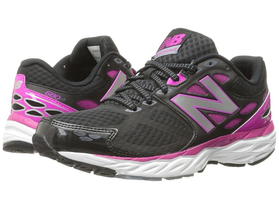 New Balance - W680v3 (Black/Azalea) Women's Running Shoes
