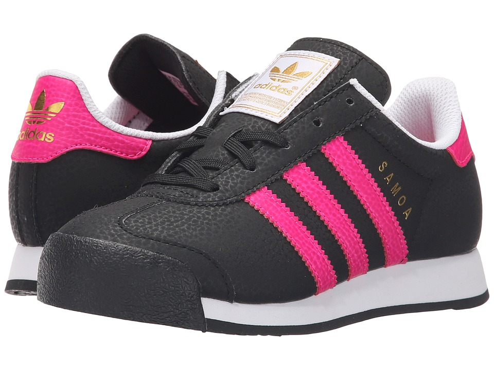 adidas Originals Kids - Samoa C (Little Kid) (Black/Shock Pink/Gold Metallic) Girls Shoes