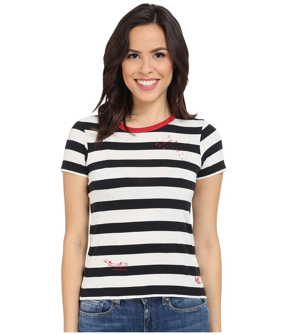 Converse Striped Shrunken Tee (Black/White Stripe) Women