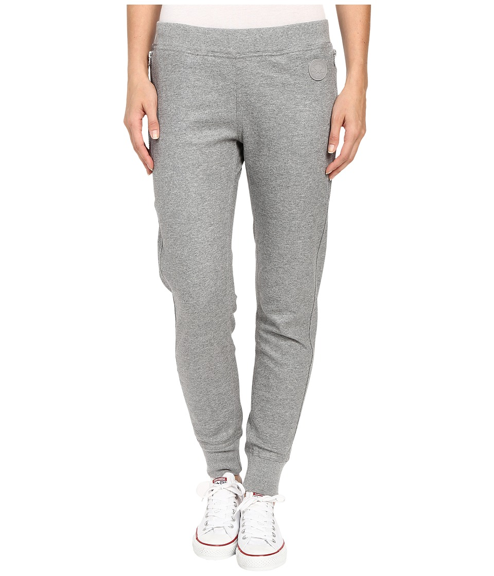 Converse - Coated Zipper Jogger Pants (Vintage Grey Heather) Women's Casual Pants plus size,  plus size fashion plus size appare