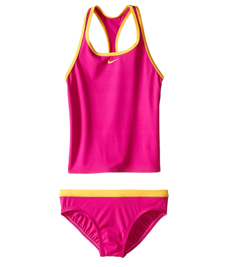 Nike Kids Solid Racerback Tankini (Big Kids) (Fire Pink) Girl