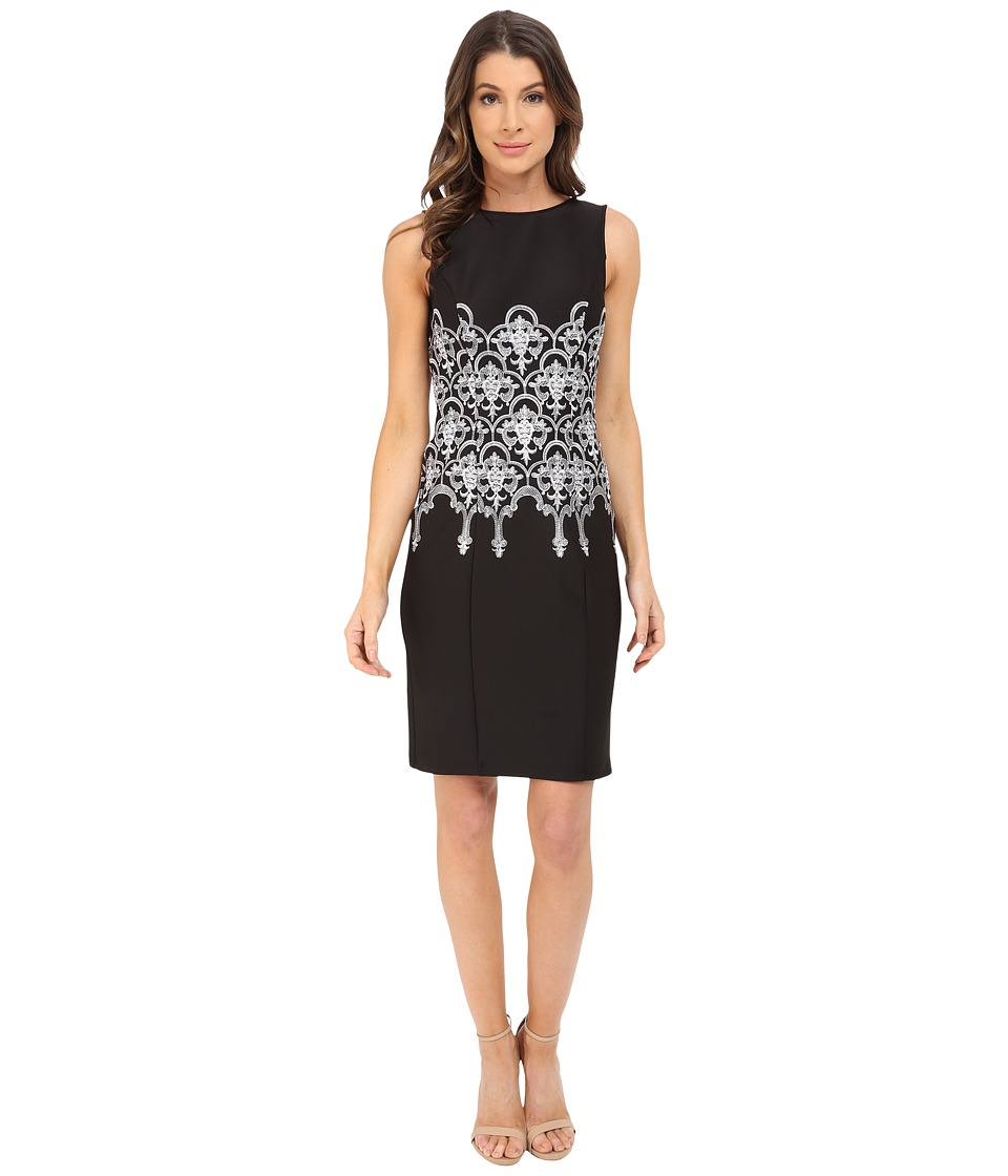 Adrianna Papell - Embroidered Waist Sheath Dress (Black/White) Women's Dress