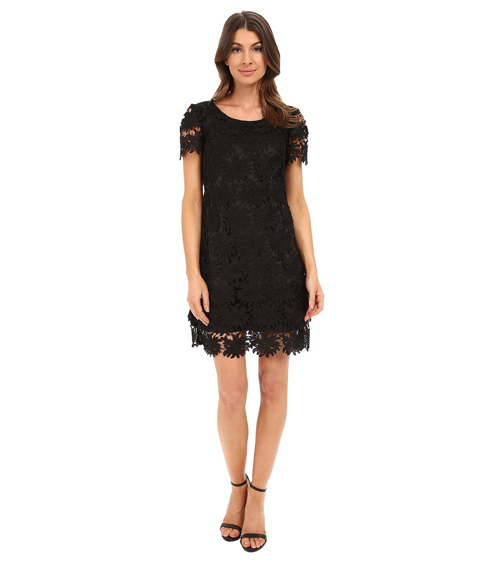 Adrianna Papell - Scalloped Lace Flounce Hem Dress (Black) Women's Dress