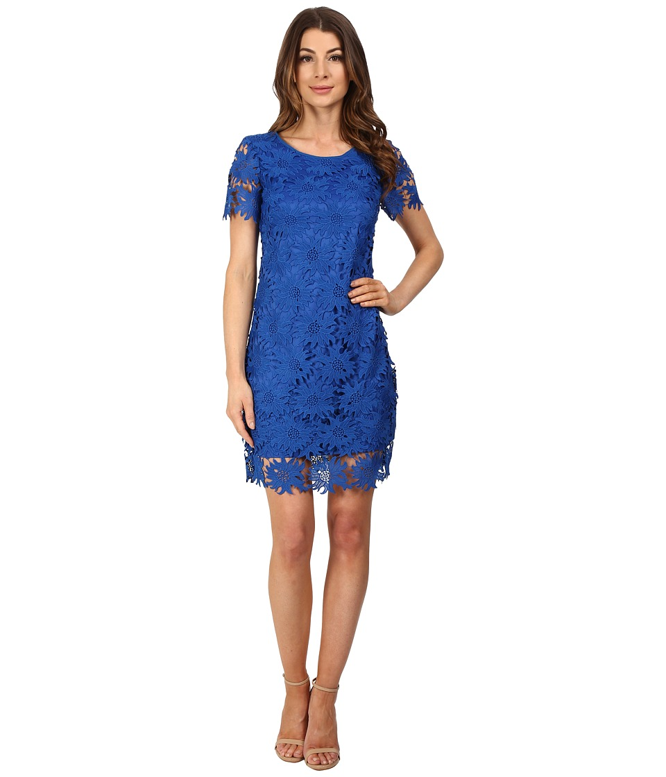 Adrianna Papell - Scalloped Lace Flounce Hem Dress (Royal) Women's Dress