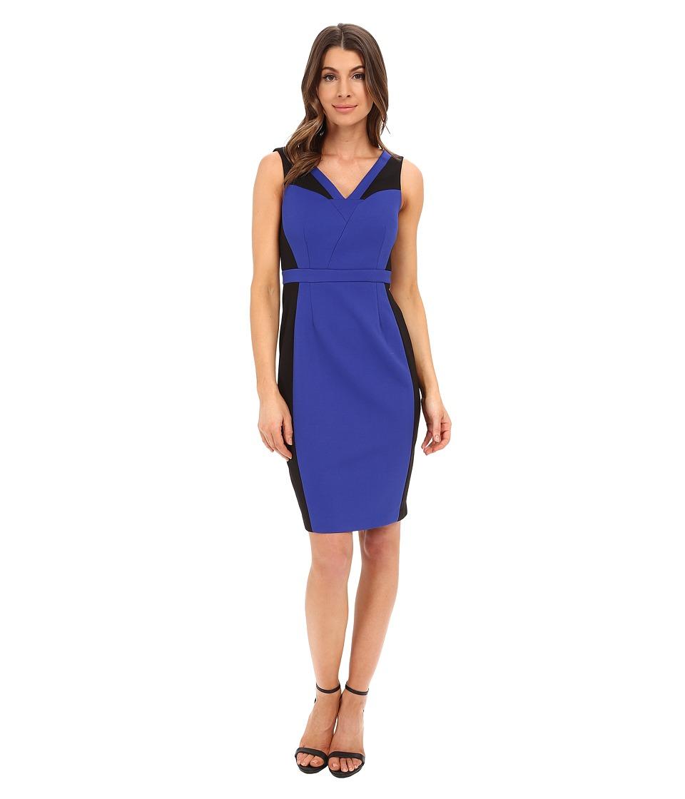 Adrianna Papell Color Block Bodycon Sheath Dress (Black/Indigo) Women