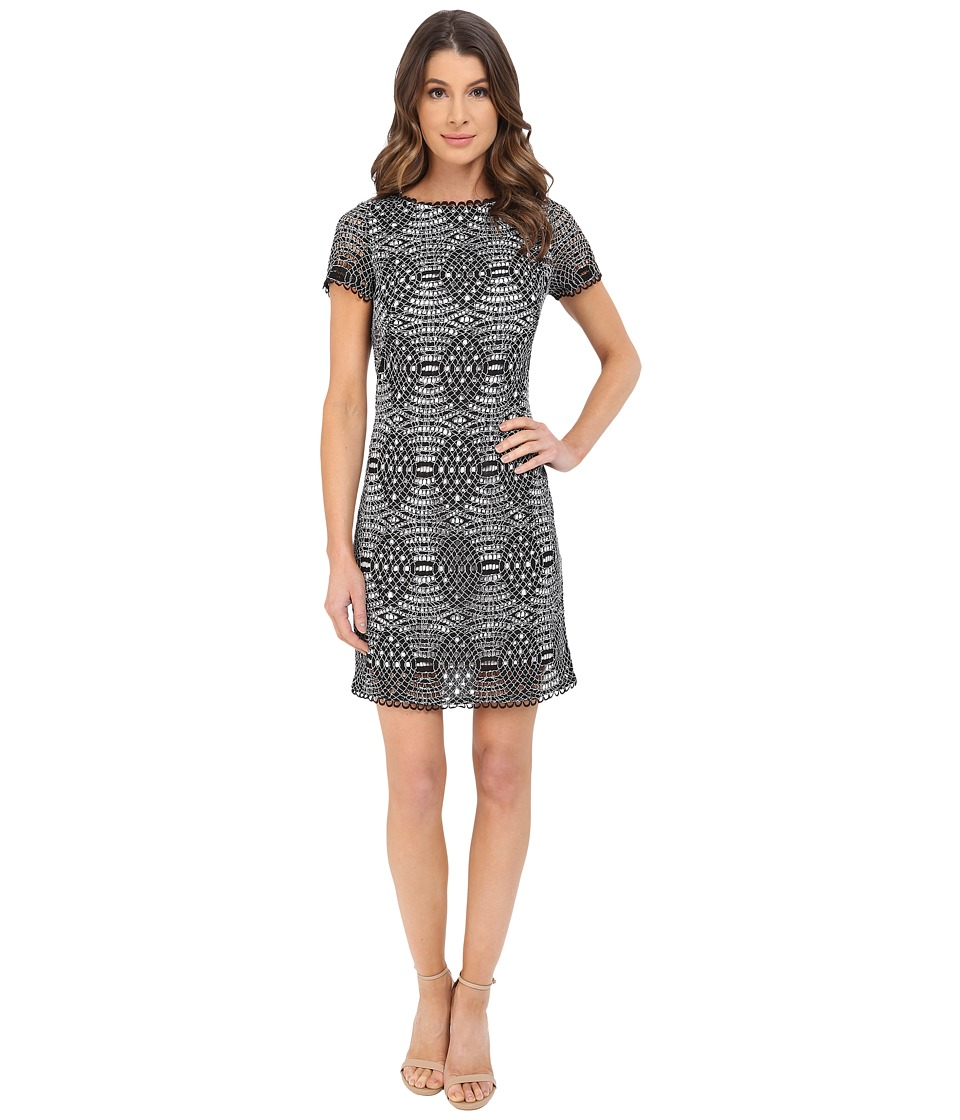 Adrianna Papell - Short Sleeve Lace Shift Dress (Black/Ivory) Women's Dress