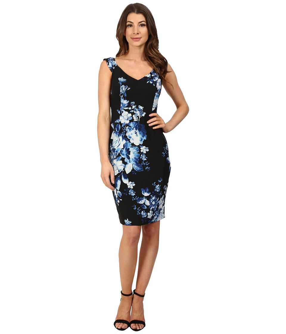 Adrianna Papell - Print Sweetheart Neckline Printed Sheath Dress (Black/Blue) Women's Dress