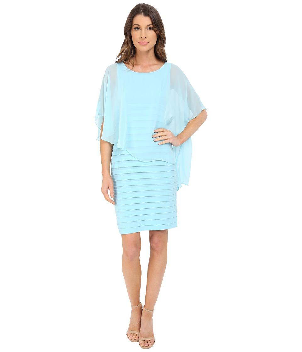 Adrianna Papell - Chiffon Drape Overlay With Banding (Sky) Women's Dress