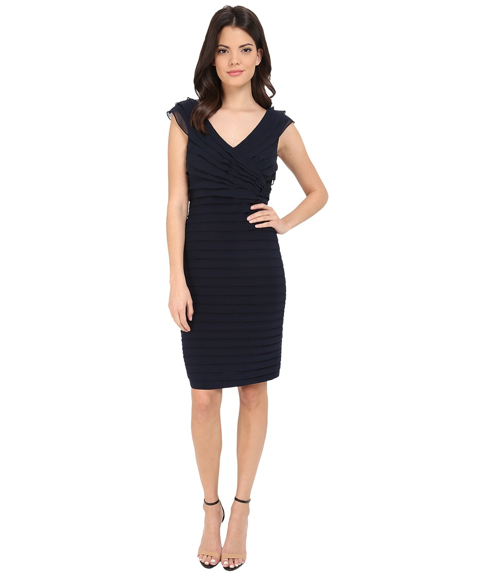 Adrianna Papell - Shutter Band Portrait Surplus Jersey Dress (Blue Moon) Women's Dress