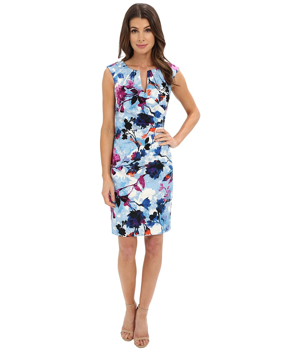 Adrianna Papell - Pleated Jacquard Side Wrap Dress (Sky Blue Multi) Women's Dress