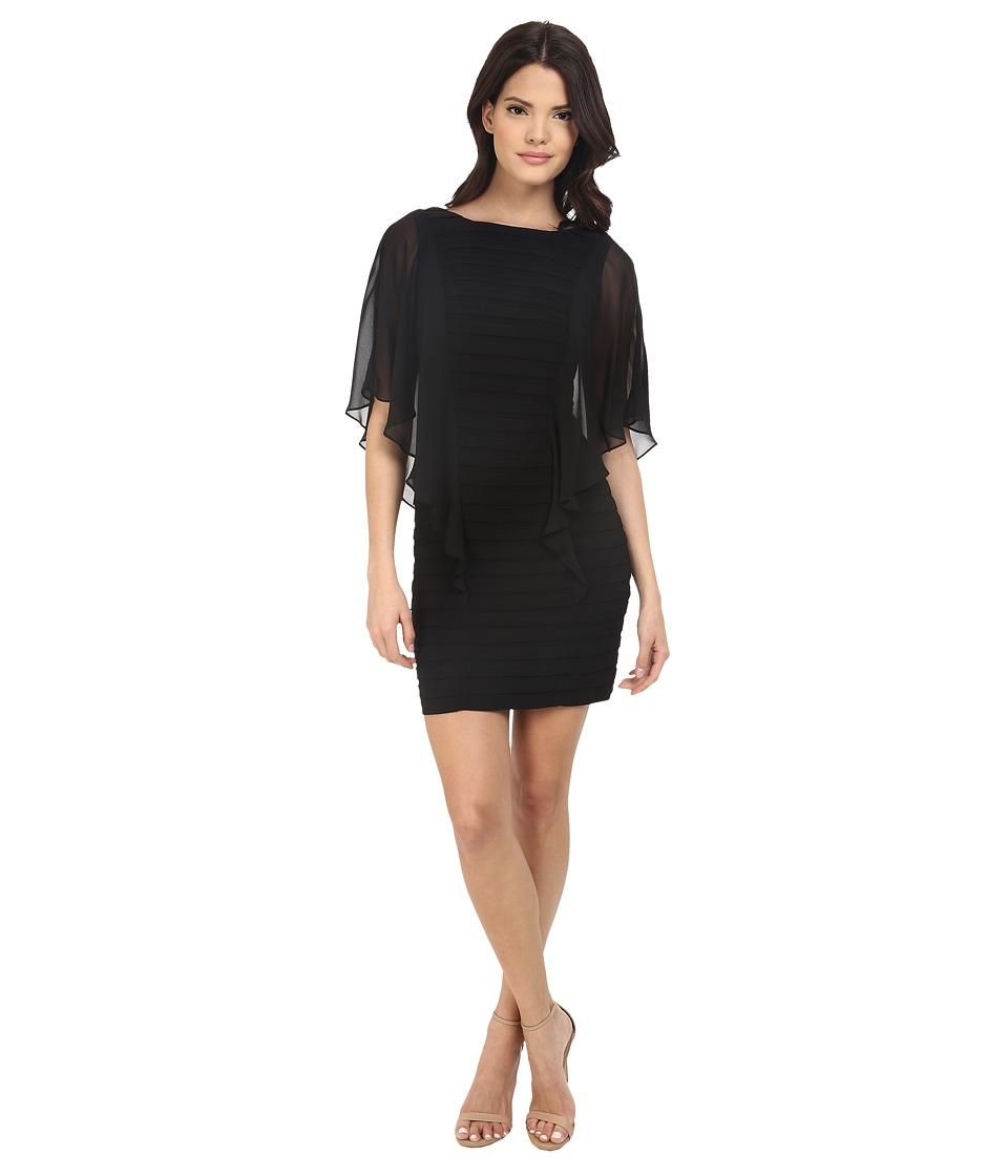 Adrianna Papell - Banded Illusion Sleeve Flutter Dress (Black) Women's Dress