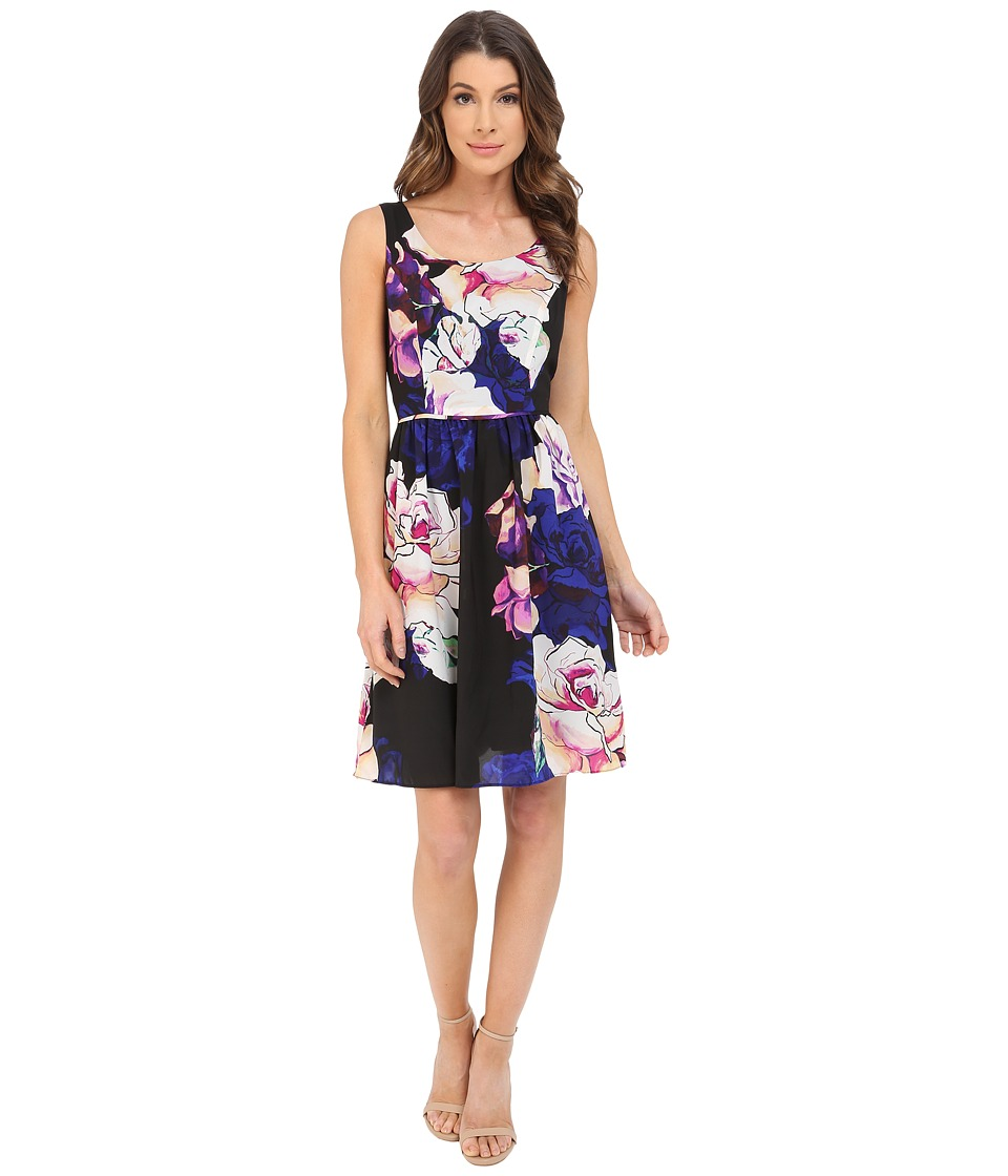 Adrianna Papell - Soft Gathered Skirt Rose Print Dress (Black Multi) Women's Dress
