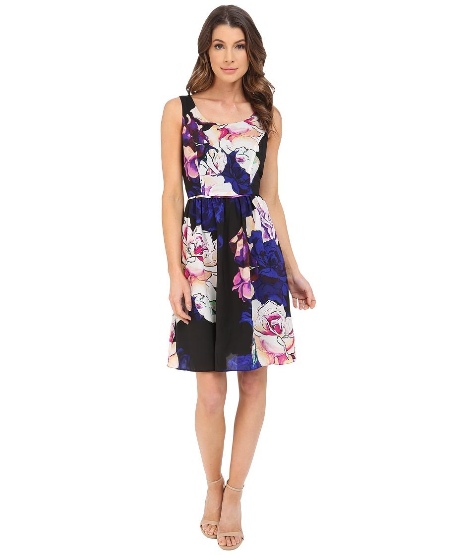 Adrianna Papell - Soft Gathered Skirt Rose Print Dress (Black Multi) Women's Dress
