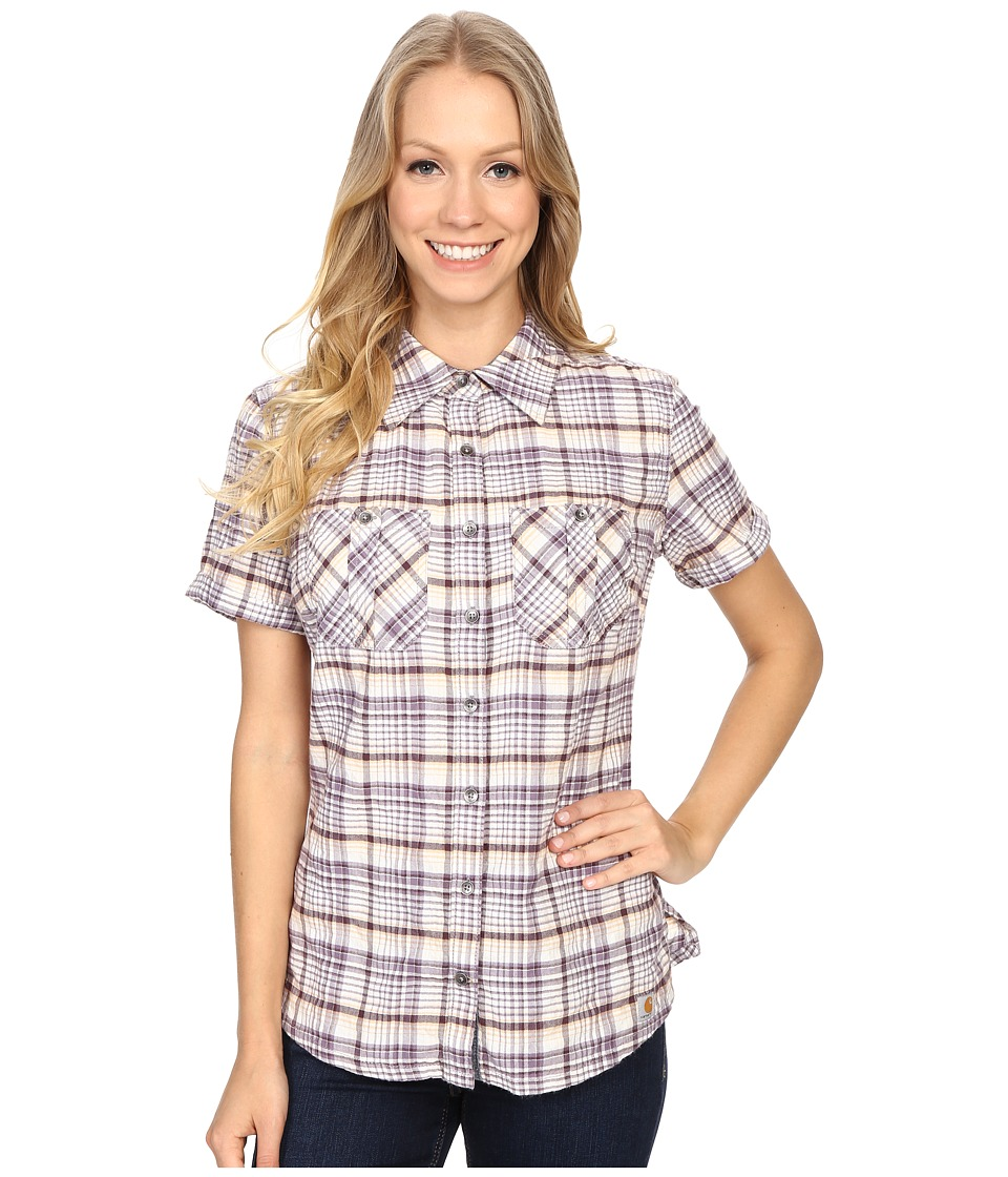 Carhartt - Brogan Shirt (Plum) Women's Short Sleeve Button Up